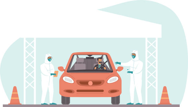 Coronavirus COVID-19 drive through testing site concept Coronavirus COVID-19 drive through testing site. Medical workers in full protective gear takes sample from driver inside the car. Drive-thru test site concept. Flat vector illustration medical test stock illustrations