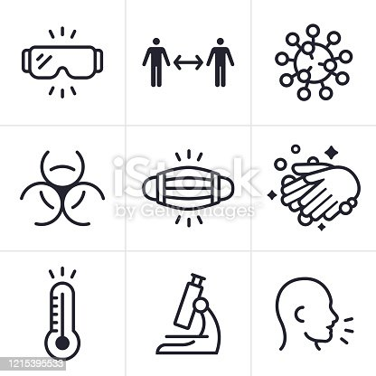 Coronavirus CoViD-19 virus medical disease and sickness icons  and symbols collection.