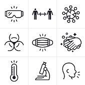 Coronavirus CoViD-19 virus medical disease and sickness icons  and symbols collection.
