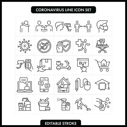 Coronavirus COVID-19 Line Icon Set. Editable Stroke