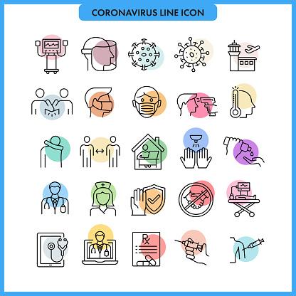 Coronavirus COVID-19 Line Icon Set.