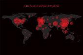 Coronavirus Covid-19 map confirmed cases report worldwide globally. Coronavirus disease 2019 situation update worldwide. Maps show where the coronavirus has spread. vector illustration.