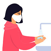 Coronavirus. COVID-19. Novel virus 2019-nCoV. Concept of prevent infection. Young girl washes hands with soap.