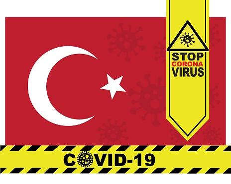 Coronavirus COVID-19 outbreak in Turkey. Turkey flag. Banner, vector, eps
