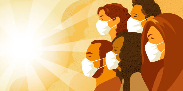 Coronavirus COVID-19 pandemia concept. Group of people in medical mask. Vector illustration of multinational group of people in medical mask look into the future with hope. Coronavirus COVID-19 pandemia concept. corona sun stock illustrations