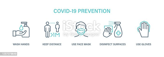 Coronavirus COVID-19 Prevention - Icon Set. Virus vector illustration