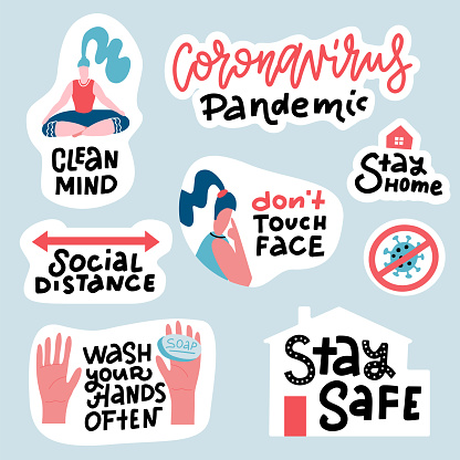 Coronavirus COVID-19 prevention sticker set. Hand drawn pack with lettering How to protect yourself - hand washing, avoid touching face, stay home. Cartoon badges with quotes. Trendy flat vector