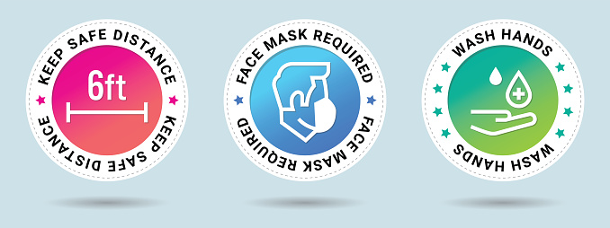 Coronavirus COVID-19 prevention sticker set. Keep Safe Distance stamp vector illustration. Face Mask Required stamp vector illustration. Wash hands stamp vector illustration.