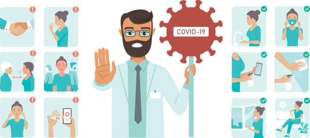 Coronavirus covid-19 protection tips. Doctor character holding STOP sign vector art illustration