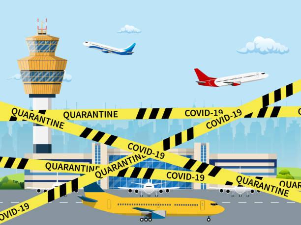 ilustrações de stock, clip art, desenhos animados e ícones de coronavirus covid-19 quarantine in airport - covid flight