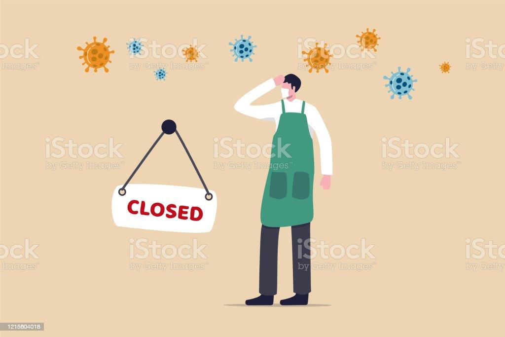 Coronavirus COVID-19 sosyal mesafe etkisi girişimci veya küçük işletme dükkanı üzerinde istihdam sorunu ile kapalı, kapalı işareti ve COVID-19 virüs patojen ile üzgün adam iş yeri sahibi ile kapalı. - Royalty-free Adamlar Vector Art