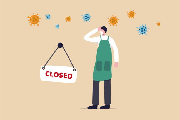coronavirus covid-19 social distancing impact on entrepreneur or small business shop to closed with problem of employment, sad man business shop owner with closed sign and covid-19 virus pathogen. - small business stock illustrations