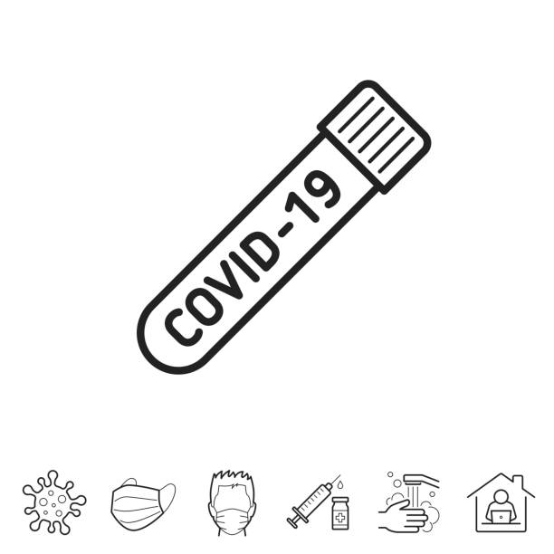 Coronavirus COVID-19 test tube. Line icon - Editable stroke Coronavirus COVID-19 test tube. Trendy icon isolated on white and blank background for your design. Includes 6 popular icons: - Coronavirus cell (COVID-19), - Medical or surgical face mask, - Man in medical face protection mask, - Vaccination - Syringe and vaccine vial, - Washing hands with soap and water, - Work from home. Vector Illustration (EPS10, well layered and grouped), easy to edit, manipulate, resize or colorize. And Jpeg file of different sizes. nasal swab stock illustrations