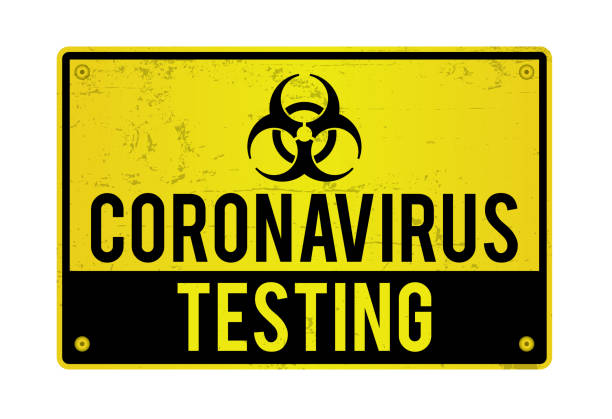 coronavirus covid-19 testing sign illustration - covid testing stock illustrations