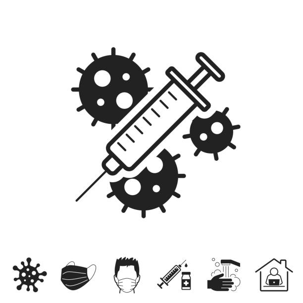 Coronavirus Covid-19 vaccine. Icon for design on white background Coronavirus Covid-19 vaccine. Trendy icon isolated on white and blank background for your design. Includes 6 popular icons: - Coronavirus cell (COVID-19), - Medical or surgical face mask, - Man in medical face protection mask, - Vaccination - Syringe and vaccine vial, - Washing hands with soap and water, - Work from home. Vector Illustration (EPS10, well layered and grouped), easy to edit, manipulate, resize or colorize. And Jpeg file of different sizes. covid vaccine stock illustrations