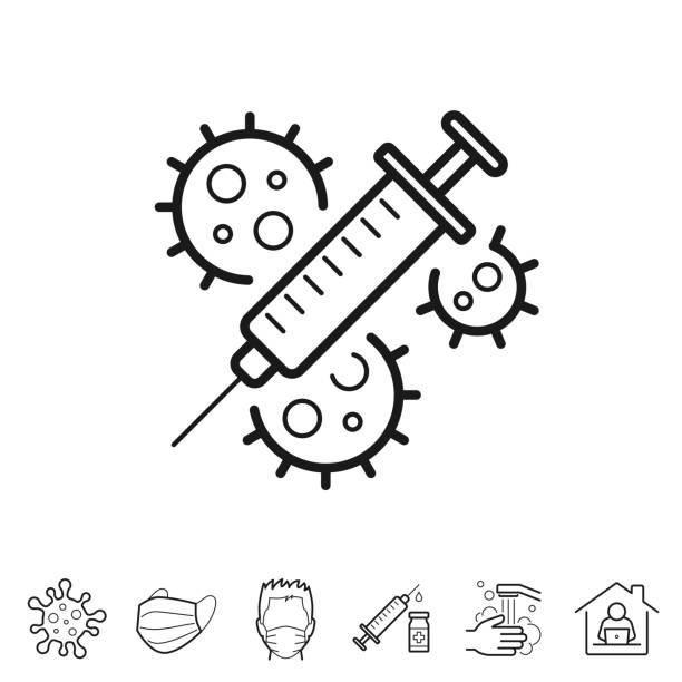 Coronavirus Covid-19 vaccine. Line icon - Editable stroke vector art illustration