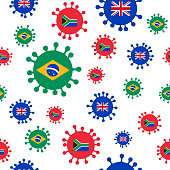 Coronavirus variants seamless background, tiles top to bottom and left to right.