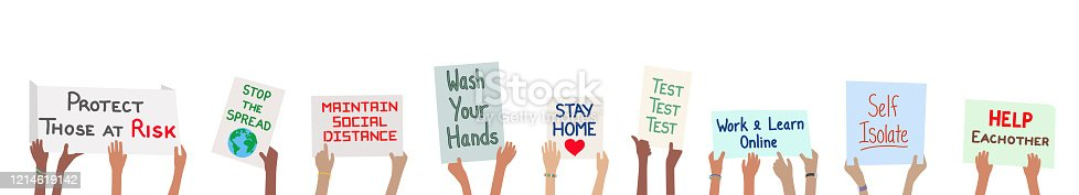 istock Coronavirus covid-19 virus banner with children holding action signs 1214619142