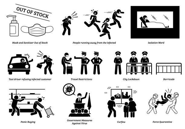 stockillustraties, clipart, cartoons en iconen met coronavirus covid-19 virus veroorzaakt panieksituaties in het hele land. - avondklok