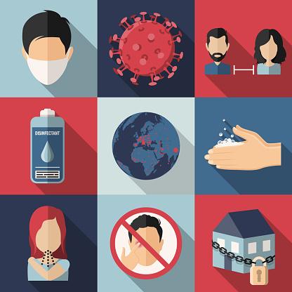 Coronavirus Covid-19 virus  precautions flat design icons set