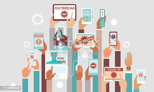 Coronavirus COVID-19 2019-nCoV disease outbreak concept. Panic in social media. Human hands holding various smart devices with coronavirus alerts on their screens. flat vector illustration