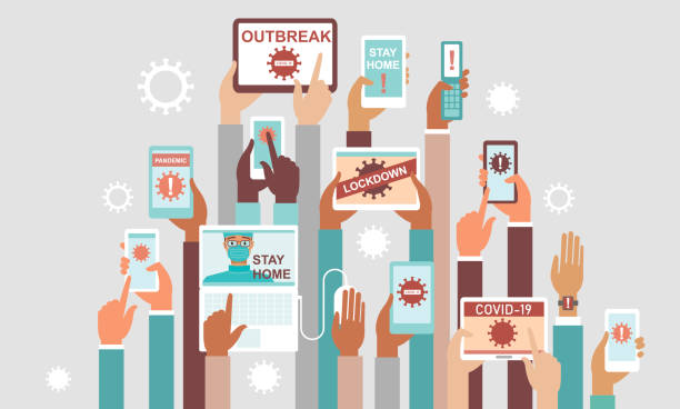 Coronavirus COVID-19 2019-nCoV disease outbreak concept. Panic in social media. Coronavirus COVID-19 2019-nCoV disease outbreak concept. Panic in social media. Human hands holding various smart devices with coronavirus alerts on their screens. flat vector illustration crisis stock illustrations