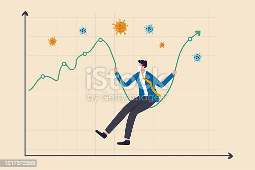 istock Coronavirus crash stock market plunged, high volatility asset price swing in Coronavirus outbreak crisis concept, businessman with sanitary mask sit on stock market graph as swing, COVID-19 pathogen 1217372359