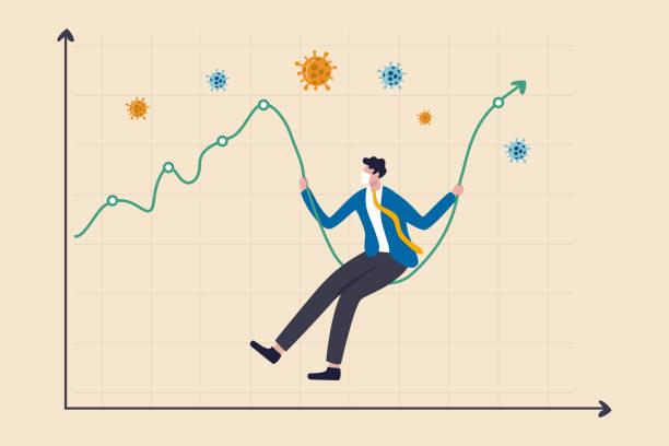 コロナウイルス暴落株式市場が急落、コロナウイルスアウトブレイク危機コンセプトにおける高いボラティリティ資産価格変動、衛生マスクを持つビジネスマンがスイングとして株式市場の� - 投資家点のイラスト素材/クリップアート素材/マンガ素材/アイコン素材