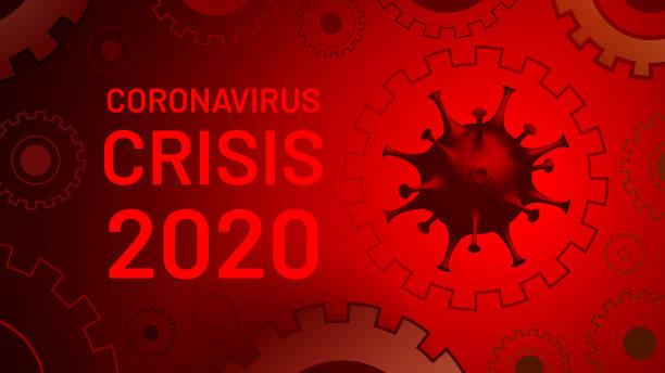 Coronavirus crisis 2020. Coronacrisis. Conceptual visualization of a recession due to virus intervention. Covid-19 pandemic is affecting the global economy. Corona virus weakens vector art illustration