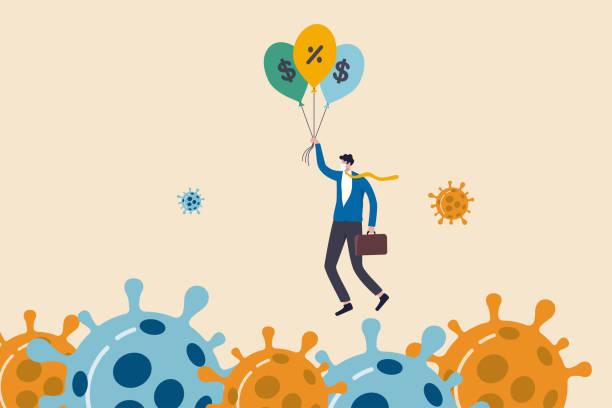 stockillustraties, clipart, cartoons en iconen met coronavirus crisis, covid-19 pandemie invloed op alle bedrijven en bedrijven met de hulp van het bankwezen en de overheid om de rente en stimulus pakket te verminderen, zakenman bedrijf ballonnen fly pass virus. - recessie