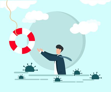 Coronavirus crisis help. Businessman reaching for lifebuoy with viruses around him, vector illustration in flat style