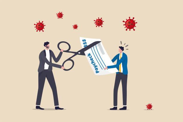 bildbanksillustrationer, clip art samt tecknat material och ikoner med coronavirus krisen gör företaget att sänka personalens lön, sänka lönen för att minska kostnaderna göra företag, företag att överleva i covid-19 kollaps, chef företagare med sax för att minska anställdas lön. - lön