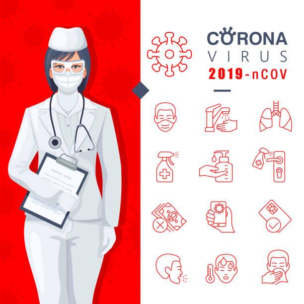 Coronavirus detailed infographic about virus prevention. vector art illustration