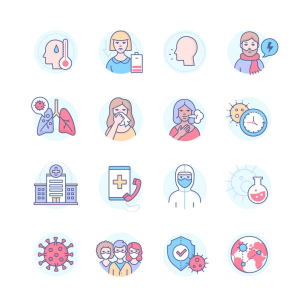 Coronavirus disease - colorful line design style icons vector art illustration