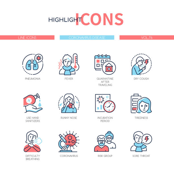 Coronavirus disease - colorful line design style icons vector art illustration