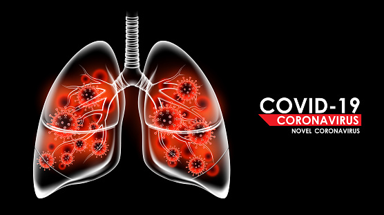 Coronavirus disease COVID-19 infection medical in human lungs and copy space. New official name for Coronavirus disease named COVID-19, pandemic risk background vector illustration