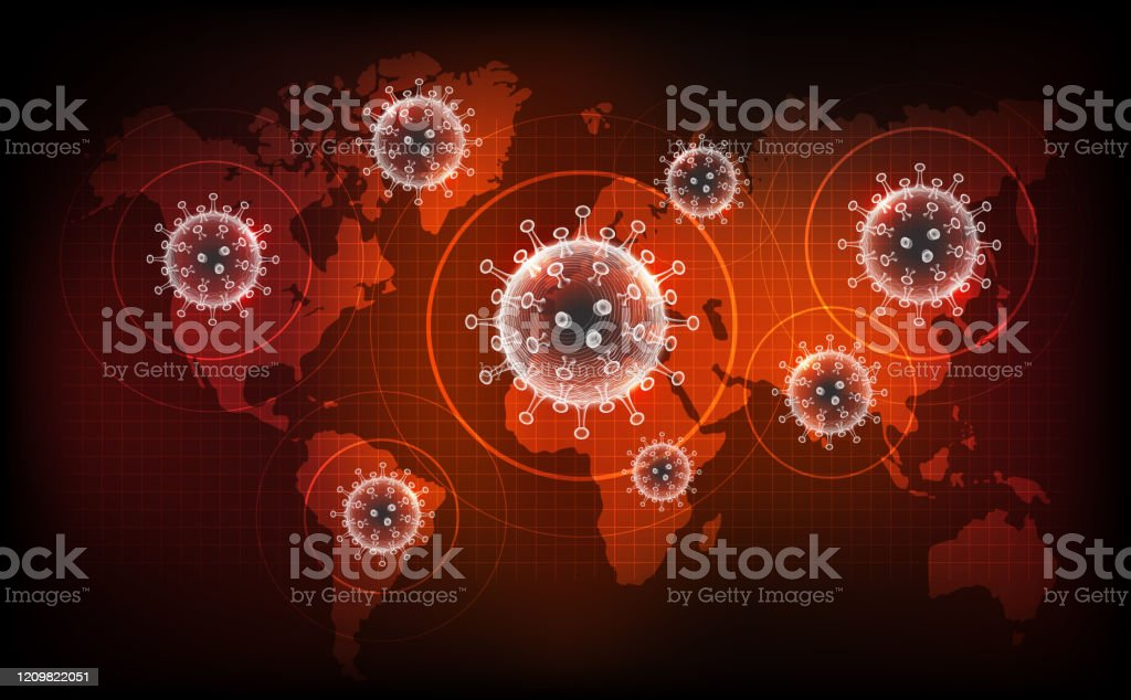 Coronavirus disease COVID-19 infection medical. New official name for Coronavirus disease named COVID-19, pandemic risk on world map background Coronavirus disease COVID-19 infection medical. New official name for Coronavirus disease named COVID-19, pandemic risk on world map background, vector illustration Analyzing stock vector