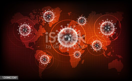 Coronavirus disease COVID-19 infection medical. New official name for Coronavirus disease named COVID-19, pandemic risk on world map background, vector illustration