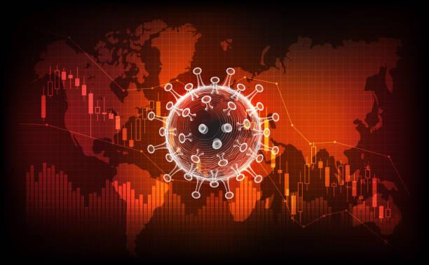 choroba koronawirusowa covid-19 zakażenie medyczne. nowa oficjalna nazwa choroby koronawirus o nazwie covid-19, pandemia na wykresie giełdowym tła, koncepcja pogorszenia koniunktury gospodarczej, ilustracja wektorowa - globalny stock illustrations