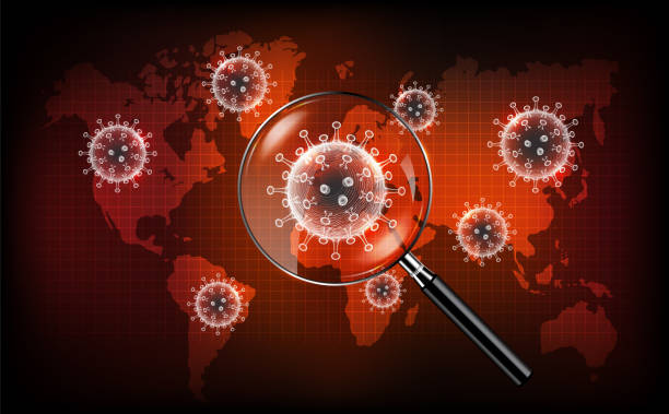 Coronavirus disease COVID-19 infection medical with magnifying glass on world map. New official name for Coronavirus disease named COVID-19, Coronavirus screening concept, vector illustration vector art illustration