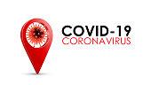 Enfermedad coronavirus COVID-19 infección médica con tipografía y ubicación del mapa pin. Nuevo nombre oficial para la enfermedad de Coronavirus llamado COVID-19, ilustración vectorial