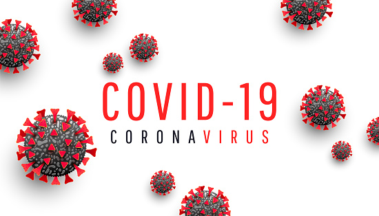 Corona virus disease COVID-19 medical web banner with SARS-CoV-2 virus molecule and text on a white background. Horizontal vector illustration