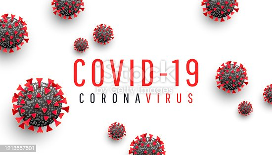 istock Coronavirus disease COVID-19 medical web banner with SARS-CoV-2 virus molecule and text on a white background. World pandemic 2020. Horizontal vector illustration 1213557501