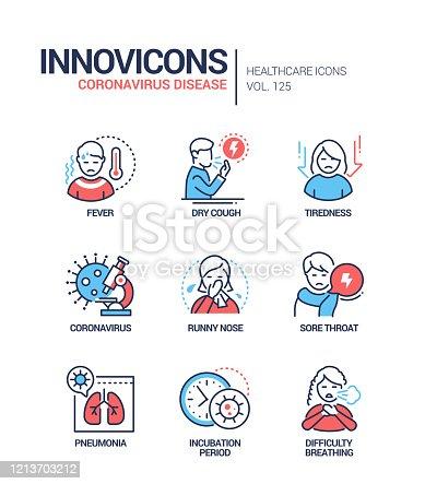 Coronavirus disease - line design style icons set. Fever, dry cough, tiredness, coronavirus, runny nose, sore throat, pneumonia, incubation period, difficulty breathing virus symptoms