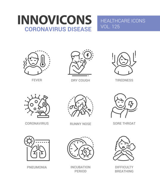 Coronavirus disease - line design style icons set vector art illustration