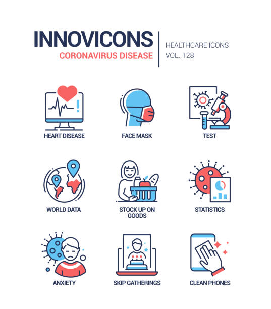 Coronavirus disease - line design style icons set Coronavirus disease - line design style icons set. Heart disease risk group, testing, world data and statistics, anxiety. Stock up on goods, skip gatherings and communicate online, clean phone advice biological process stock illustrations