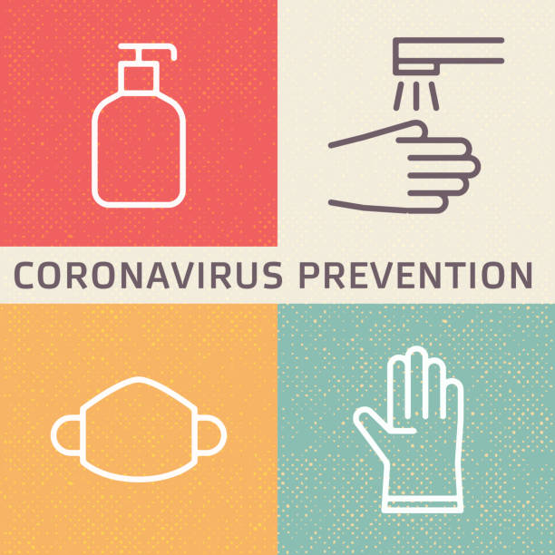 coronavirus (2019-ncov) disease prevention illustration. outline icons showing disinfection, hygiene, mask and glove protection from new 2019 and 2020 flu in wuhan, china. - covid mask stock illustrations