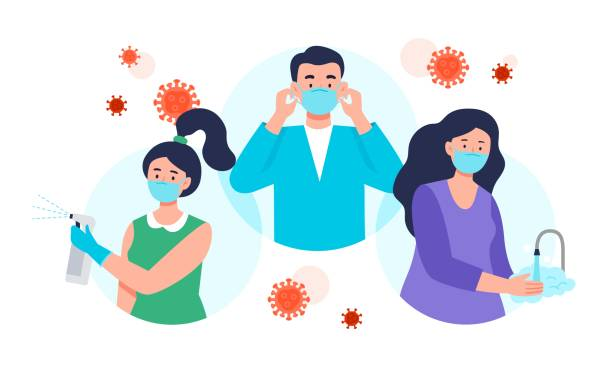 ilustrações, clipart, desenhos animados e ícones de dicas de proteção contra doenças coronavírus com o uso de máscara facial, higienização e lavagem das mãos. - limpando rosto