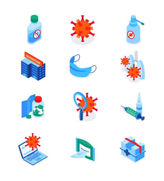 Coronavirus disease - set of modern isometric icons vector art illustration