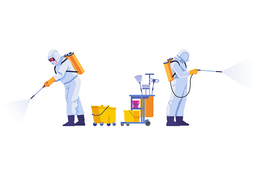 COVID-19 Coronavirus disinfect. Disinfecting workers wear protective masks and spacesuits against pandemic coronavirus or covid-19 sprays. Cartoon style vector illustration isolated background